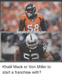 Von Miller Memes - ho would you rather have2 khalil mack or von miller to start a