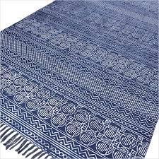 Flat Weave Cotton Area Rugs Blue Cotton Block Print Accent Area Dhurrie Rug Flat Weave