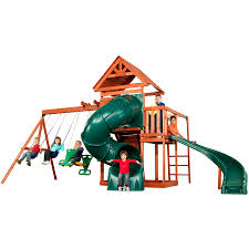Playground Flooring Lowes by Shop Swing N Slide Grandview Twist Complete Wood Playset With
