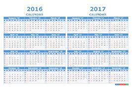 printable calendar 2016 and 2017 with week numbers light blue
