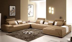 Rug Brown Living Room Mesmerizing Brown Living Room With U Shaped Sofa In