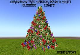 christmas tree with white lights and red bows second life marketplace 2 prim christmas tree w bells bows