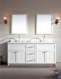 Ariel Hamlet  Double Sink Vanity White Cabinet White Quartz - Quartz bathroom countertops with sinks