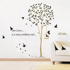 warm and autumn butterfly tree birds wall stickers for