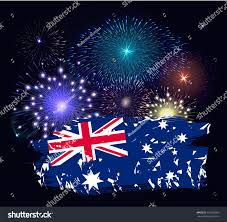 Blue Yellow And Black Flag Australia Day Flag Colorful Fireworks On Stock Vector 361269356
