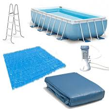 intex 16ft x 8ft x 42in rectangular prism frame pool set with