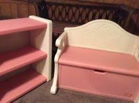 Toy Chest And Bookshelf Vintage Discontinued Little Tikes Pink And White Victorian Storage