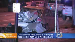 3 hospitalized following crash in south philadelphia youtube