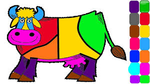 cow coloring page learn colors youtube