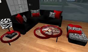 Zebra Living Room Set | second life marketplace modern red black and zebra print living