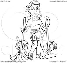 clipart of a black and white housekeeper woman mopping and