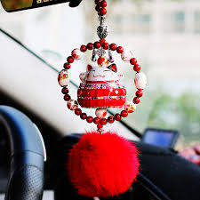 fortune cat car rear view mirror pendant maneki neko hanging