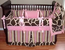 Pink Brown Crib Bedding Paisley Print Crib Bedding