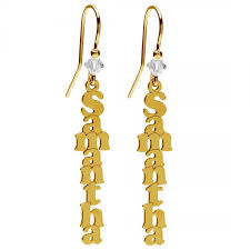gold name earrings vertical name earrings silver 925 rhodium or gold plated