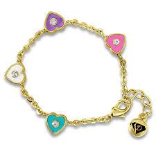 girls bracelet gold images A touch of dazzle kids bracelets crystal hearts jpg