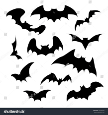 halloween white background set vector silhouettes bats on white stock vector 491895928