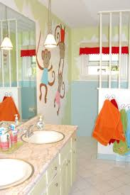 Kids Bathroom Design Simple Blue Themes Kids Bathroom With Cute Wall Decal Design And
