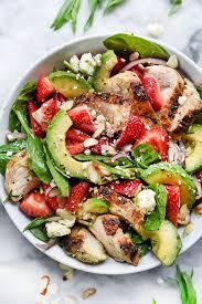 strawberry avocado spinach salad with chicken foodiecrush com