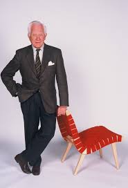 jens risom with his risom lounge chair designed for knoll
