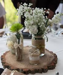 rustic jar wedding centerpiece set of 3 jar