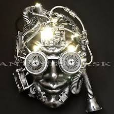 led light up flashing full face steampunk halloween party mask