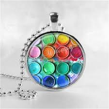 art glass necklace pendant images Paint box necklace art pendant jewelry artist necklace artist jpg