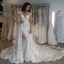 wedding dress with detachable dramatic mermaid wedding dress bateau sleeves detachable
