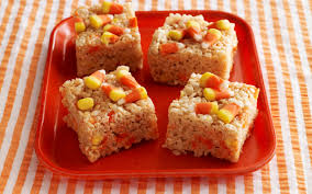 spooky candy corn rice krispies treats