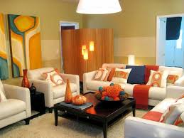 exquisite design small living room ideas featuring orange wall of