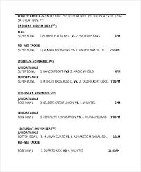 printable bowl schedule templates 9 free pdf format download