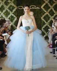 oscar de la renta lace wedding dress light blue tulle tiers overskirt lace wedding dresses 2017 oscar