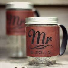 wedding gift koozies mr and mrs personalized leather jar koozies we this