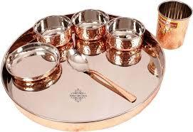 buy indian villa stainless steel copper dinner set