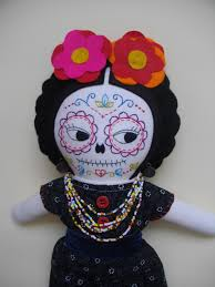 day of the dead frida kahlo mexican sugar skull cloth doll art