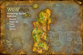 kalimdor map wowdigs of warcraft archaeology locations kalimdor