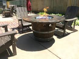 cocktail table fire pit gas fireplace table outdoor whiskey or wine barrels can be used for