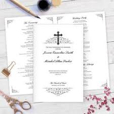 catholic wedding program template champagne