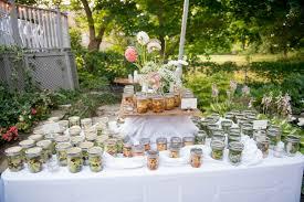 mason jar salad display backyard wedding catering wild flowers