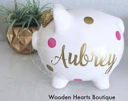 baptism piggy bank wooden hearts boutique llc by woodenheartsboutique on etsy