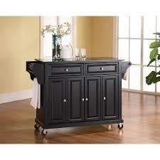crosley black kitchen cart with black granite top kf30004ebk the