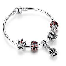 bangle bracelet charm silver images Simple 925 silver crystal charm bangle bracelet with royal crown jpg