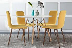 yellow kitchen table and chairs amazon com set of 4 dining chairs coavas fabric cushion kitchen