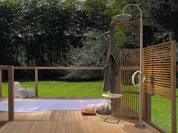 bathroom contemporary outdoor shower with traditional wood cut