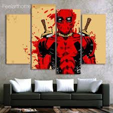 canvas painting 4 pieces canvas art deadpool marvel comic home