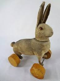 paper mache bunny flocked easter bunny rabbit antique paper mache candy container