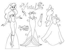 3 disney princess paper dolls color