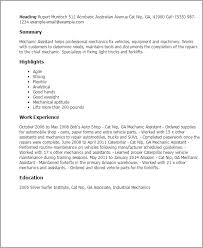 Industrial Maintenance Resume Examples by Professional Mechanic Assistant Templates To Showcase Your Talent