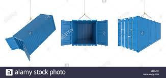 set of metal freight shipping containers on the hooks in different