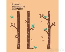 birch tree wall decals with birds and owl set of 3 trees stickers