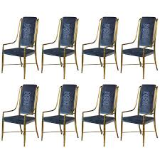 mastercraft brass faux bamboo set of eight dining chairs with blue